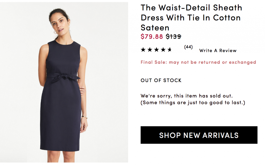 Navy sheath dress from Ann Taylor site