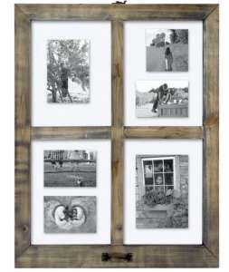 Picture of wood four-pane window with a photo in each pane