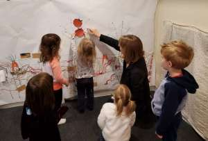 Preschool teacher with kids